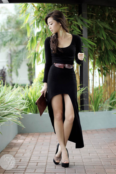 black storets dress - crimson stylista bag - black Sugarfree heels