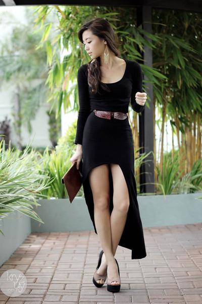 black storets dress - crimson stylista bag - black Sugarfree heels