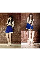 yellow WAGW top - beige michael antonio shoes - blue WAGW skirt