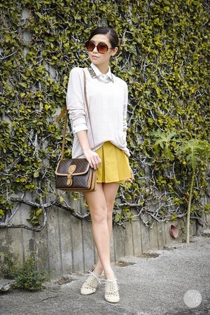off white WAGW sweater - dark brown zeroUV sunglasses - mustard romwe skirt