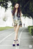 navy bianca pitogo vest - gold cesa shorts - purple lulus heels