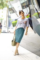 heather gray WAGW top - turquoise blue WAGW skirt