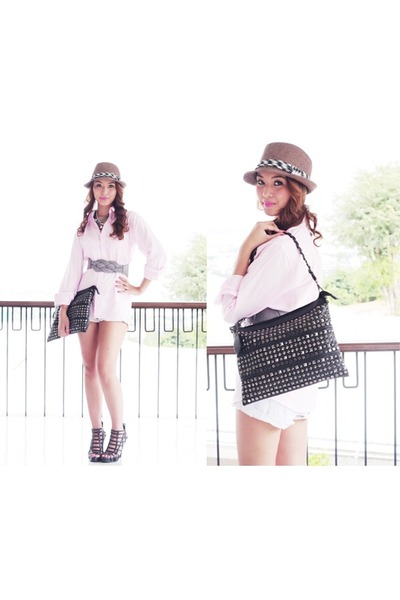 pink WAGW blouse - silver WAGW belt - brown WAGW hat - black WAGW accessories -