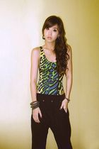 black Zara pants - green H2O swimwear - gold Pimkie accessories