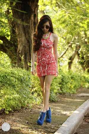 blue luxury mall boots - red Urban Dressing dress