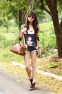 Brown-romwe-boots-brown-bottega-veneta-bag-navy-lust-clothing-shorts