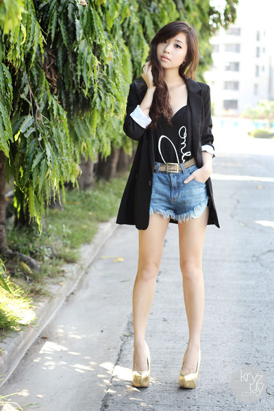black iwearsin blazer - blue romwe shorts - gold Mango belt