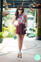 white Clothes Off top - camel S&H shoes - brick red Yesstyle shorts