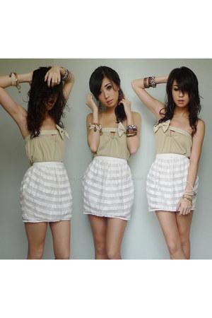 white Topshop skirt - tan iwearsincom top