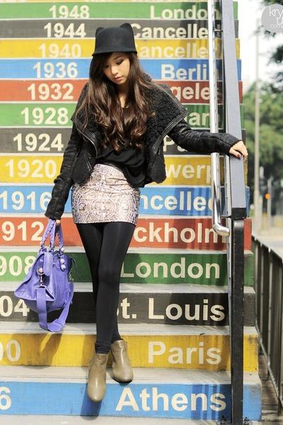 eggshell Lovelysally skirt - dark khaki comfit boots - black romwe coat