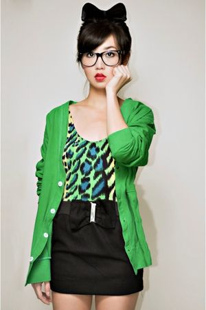 green H20 top - green wagw for her man cardigan - black iwearsin skirt