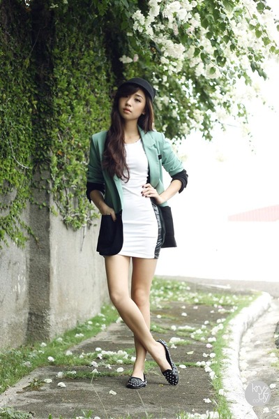 teal clothes for the goddess blazer - white House of Eva dress - black WAGW hat