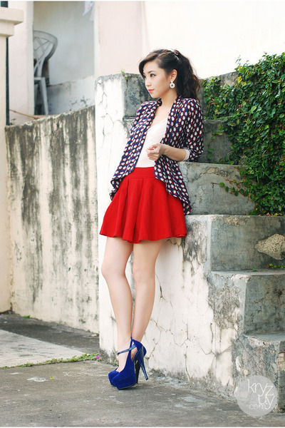 blue ffaq heels - navy ellysage blazer - ruby red clothes for the goddess skirt