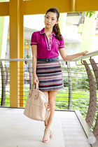 purple romwe skirt - amethyst penguin top