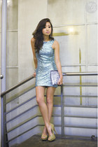 aquamarine TFNC LONDON dress - silver Zara bag - camel Call it Spring heels