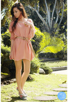 light pink Mexy dress - heather gray Sebago flats - gold giftsahoy ring