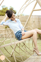 blue clothes for the goddess shorts - sky blue American Eagle top
