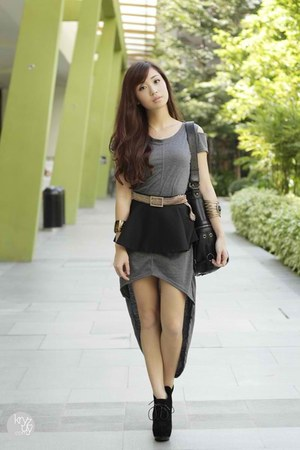 black Miss Sartorial belt - heather gray chic boulevard dress
