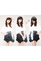 white SIN top - gray WAGW hat - black SIN skirt