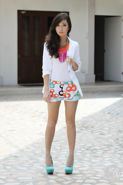 orange dvf X gap shorts - white closet goddess blazer