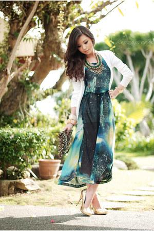 white Mango cardigan - turquoise blue romwe dress