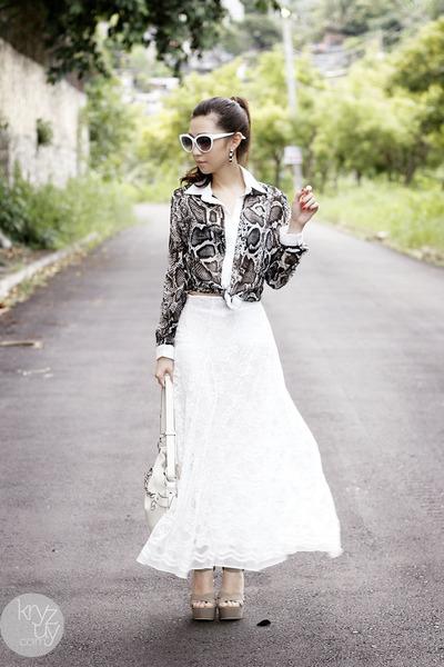 white coach bag - white romwe sunglasses - black romwe top - white WAGW skirt