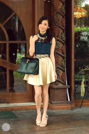 dark green Fantasia top - gold Fantasia skirt