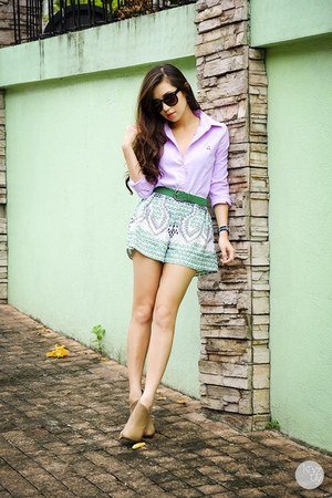 green WAGW shorts - light purple WAGW top