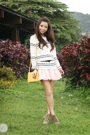 off white by details sweater - cream Celine bag - bubble gum by details skirt