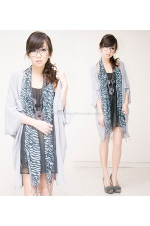 gray iwearsincom dress - heather gray WAGW scarf - silver WAGW cardigan