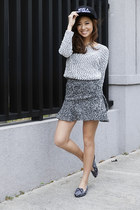 charcoal gray Sheinside skirt - black WAGW hat - charcoal gray Ylla sandals