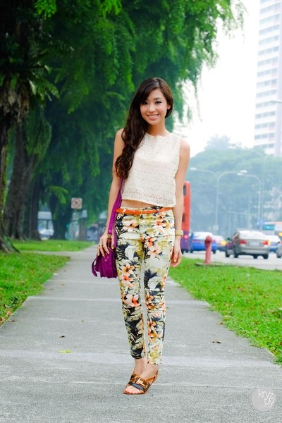 off white ellysage top - lime green WAGW pants - tawny Cole Vintage sandals