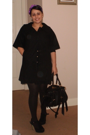 unknown coat - unknown dress - Witchery stockings - Forever New shoes - Miu Miu