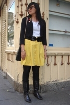 H&M skirt - Zara blazer - H&M t-shirt - boots - H&M hat