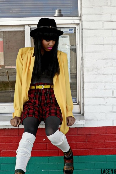 yellow thrifted vintage blazer - black thrifted hat