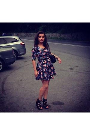 bohoo dress - Chanel bag - Mango heels - Stradivarius accessories
