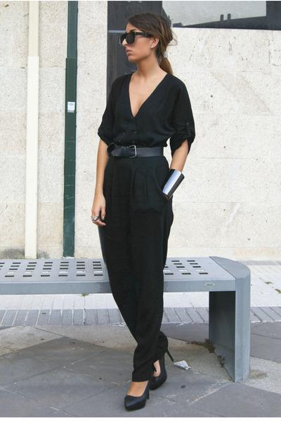 black Zara romper - black Zara shoes - black pull&bear belt