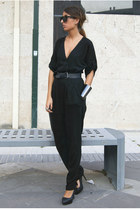 black Zara romper - black Zara shoes - black pull&bear belt
