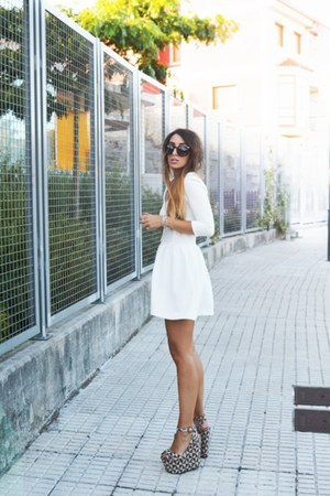 black Office shoes - white asos dress