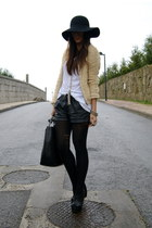 black curve wedges asos shoes - mustard Zara jacket - black leather Zara shorts