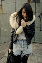 black leather Zara jacket - periwinkle denim DIY shorts - cream faux fur collar