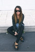 black Zara shirt - mustard Nelly shoes