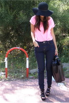 black studded-diy Zara shoes - black leather Zara bag - bubble gum neon Zara t-s