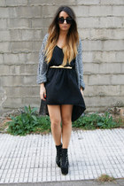 black UNIF heels - gray Pixie cardigan