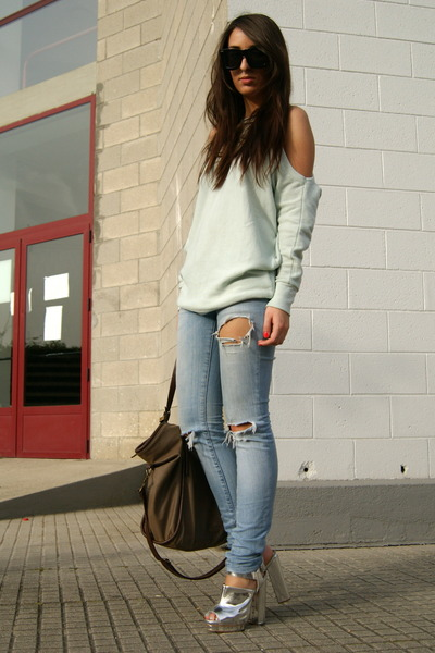silver Topshop shoes - lime green shoulderless Topshop sweater