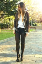 dark brown aviator Primark jacket - ivory Zara shirt - black One Teaspoon shorts