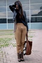 dark brown Aldo boots - black leather Zara jacket - camel Zara pants