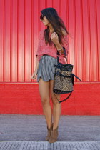 camel short cowboy Pull and Bear boots - bronze leopard Yesstyle bag