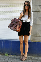 brown fringe Bershka shoes - crimson leather vintage bag - black velvet Zara ski
