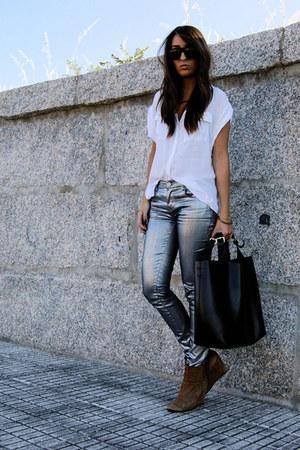 silver silver Zara pants - camel Zara boots - black leather Zara bag